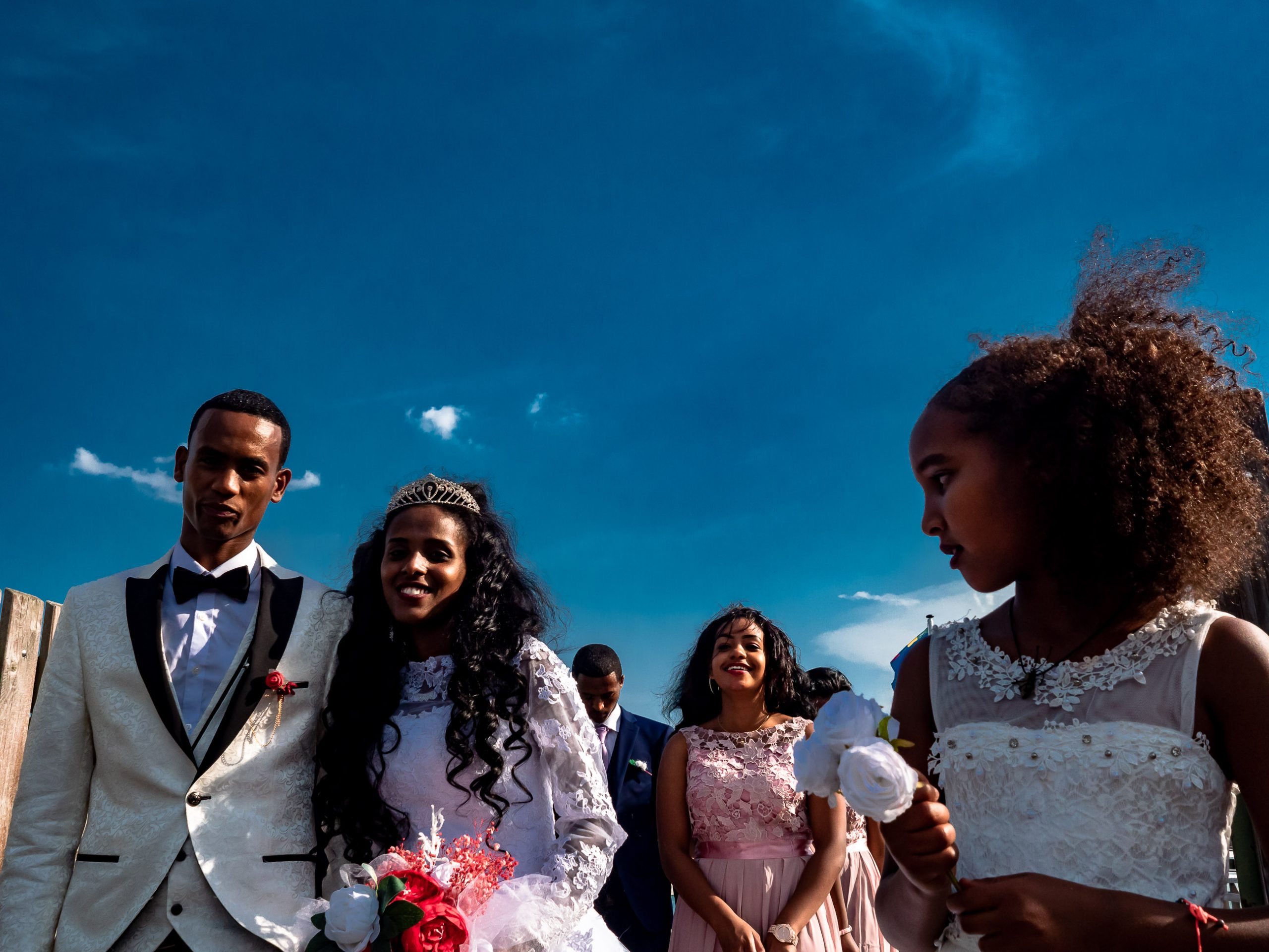 African wedding at the lake StarnbergPeople at the seafront of lake Starnberg in Bavaria Germany